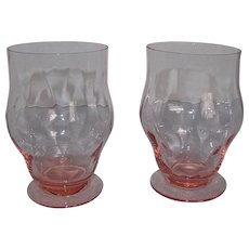 "2 Heisey Diamond Optic Flamingo Pink ""Glenford"" Footed Soda 8 oz. Water Glasses"
