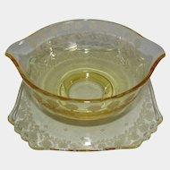 "Fostoria Glass Topaz ""New Garland"" Etched Sauce Gravy Bowl & Attached Underplate"