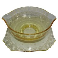 "Fostoria Glass Topaz ""New Garland"" Etched Sauce Gravy Bowl & Attached Underplate"