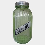 Hocking Green Depression Glass Hoosier 40 oz. Sugar Canister Jar
