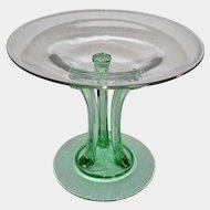 """Fostoria Green & Crystal Glass 6"""" Tall Tripod Comport 1931-32 Depression Era"""
