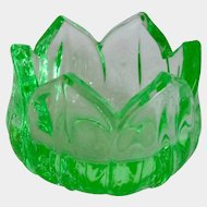 "Westmoreland ""Lotus"" Green Depression Glass Open Salt Cellar"