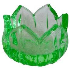 "Westmoreland ""Lotus"" Green Depression Glass Open Salt Cellar"
