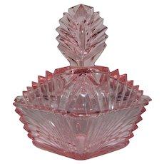 Large Pink Glass Deco Powder Puff Jar Dish & Lid 1930s