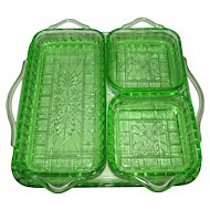 "Green Depression Glass ""Doric"" 4 Relish Stackable Serving Tray Set"