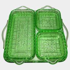 "Green Depression Glass ""Doric"" 4 Relish Stackable Serving Tray Set"