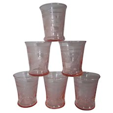 Six 2 oz. Pink Elegant Etched Glass Cordial Shot Glass Tumblers