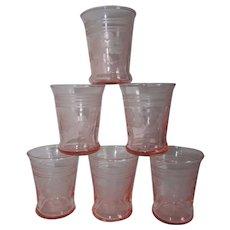 Six 2 oz. Pink Elegant Etched Glass Cordial Shot Glass Tumblers