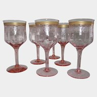 6 Morgantown Pink Optic 8 oz. Etched Glass Water Wine Stems