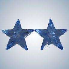 "Cambridge 5-1/4"" Moonlight Blue Star Solid Glass Candlesticks"