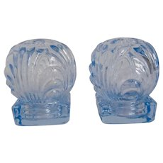 Cambridge Caprice Moonlight Blue Glass Individual Ball Salt Pepper Shakers