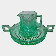 Paden City Teal Loaf Domino Etched Glass Sugar Cube Tray and Creamer