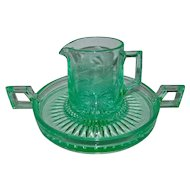 Paden City Teal Loaf Domino Glass Sugar Cube Tray and Creamer