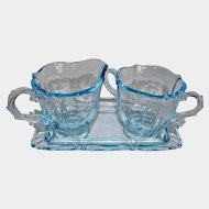 "Fostoria ""Baroque"" Azure Blue Glass Sugar Creamer and Tray Set"