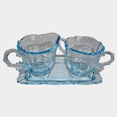 """Fostoria """"Baroque"""" Azure Blue Glass Sugar Creamer and Tray Set"""