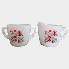 Fire King Primrose Milk Glass Sugar Bowl and Creamer