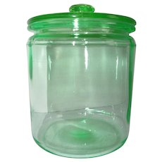 Aqua Green Depression Glass 40 oz. Hoosier Provision Canister Jar w/ Lid