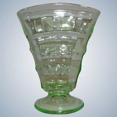 "Paden City Green Glass Party Line 6"" Fan Vase 1930s"