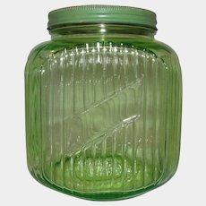 Green Uranium Depression Glass Gallon 64 oz. Hocking Hoosier Canister Jar