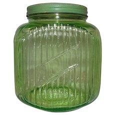 Green Depression Glass Gallon 64 oz. Hocking Hoosier Canister Jar