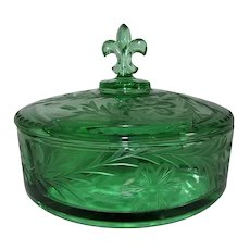 Fostoria Green Glass Candy Box Evangeline Cutting 1935-38