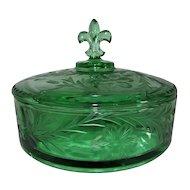 Fostoria Green Glass Candy Box Evangeline Cutting 1935-38