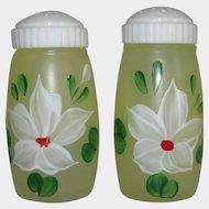 Bartlett Collins Handpainted Glass Salt and Pepper Shakers