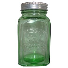 Green Depression Glass Embossed Range Salt Shaker Hazel-Atlas
