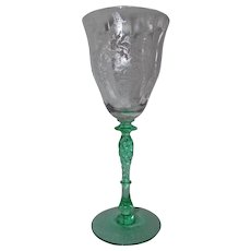 Tiffin Persian Pheasant Etched Glass Goblet (s)  Crystal w/ Green Stem