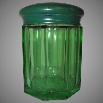 Green Glass Humidor w/ Brass Lid Sponge Receiver