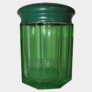 Heavy Green Glass Humidor w/ Brass Lid