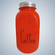 Hocking Glass Fired-On Red Coffee Jar Canister HTF
