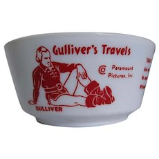 Max Fleischer Studios 1939 Gulliver's Travels Milk Glass Cereal Bowl
