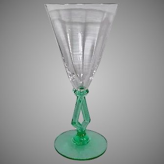Morgantown Optic Glass 8 oz. Water Wine Art Moderne Goblet 1930s