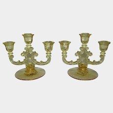Fostoria Topaz Glass Trindle 3 Light Window Pane Candlesticks