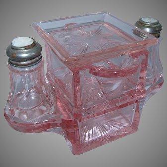 5 Pc. Westmoreland Pink Glass Stacking Creamer Sugar Salt Pepper Butter Pat