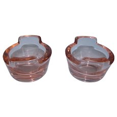 2 Heisey Flamingo Pink Glass Open Salt Cellar Tubs