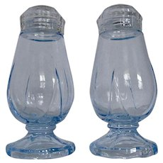 Cambridge Blue Glass Footed Salt Pepper Shakers