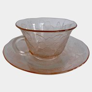 Pink Depression Glass Dogwood Thin Cup Saucer (s) 1930 - 1938