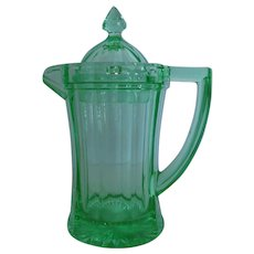 Imperial Colonial Green Glass Syrup Pitcher Jug w/ Lid