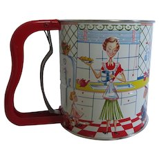 Androck Mid Century Metal Sifter Kitchen Family Graphics Red Yellow Blue