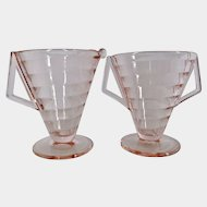 Westmoreland Pink Glass Horizontal Ribbed Creamer Sugar 1926
