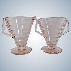 Westmoreland Pink Glass Horizontal Ribbed Creamer Sugar 1926