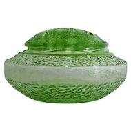 Green Depression Glass Flower Frog Vase L. E. Smith