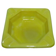 "Akro Agate Yellow Glass Personal Ashtray 2-7/8"" w/ Logo"