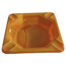 "Akro Agate Orange Glass Personal Ashtray 2-7/8"" w/Logo"