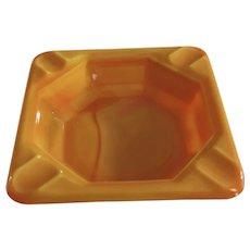 "Small Akro Agate Pumpkin Orange Marble Glass Individual Personal Ashtray 2-7/8"" w/Logo"
