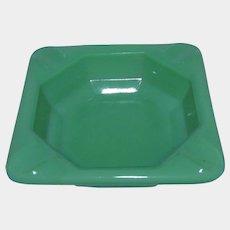 """Akro Agate Jadeite Green Glass Personal Ashtray 2-7/8"""" w/ Logo"""