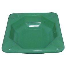 "Akro Agate Jadeite Green Glass Personal Ashtray 2-7/8"" w/ Logo"