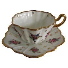 Eastern Star Masonic English Bone China Teacup Saucer Royal Stuart